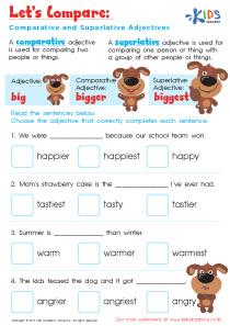 Comparative and superlative adjective worksheet for grade 3