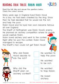 Robin Hood Folktale Worksheet