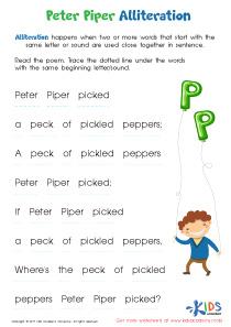 Peter Piper Alliteration Worksheet