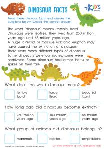 Dinosaur Facts Worksheet