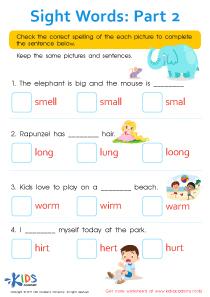 Sight Words Worksheet for 3rd Grade