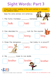 Sight Words Worksheet: Hold, Bring, Carry, Brother