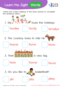 Sight Words Worksheet: Family, Horse, House, Play