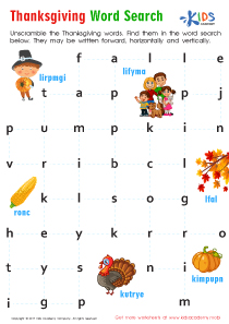 Sight words worksheet: Thanksgiving word search