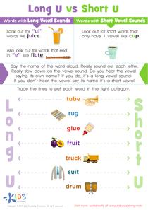 Long and Short Vowel U Worksheet