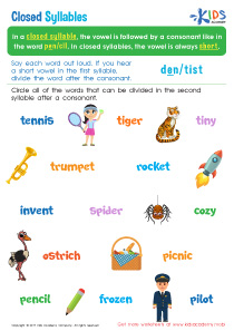 Closed Syllable Worksheets for 3rd Grade