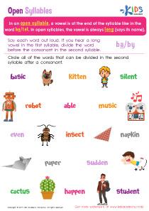 Open Syllable Printable Worksheet