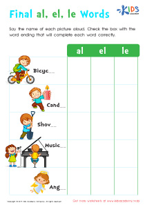 Worksheet: Spelling Words Ending with -le, -el and -al