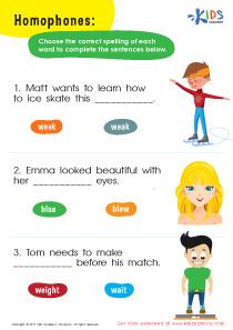 Spelling worksheet: homophones ate/eight