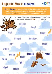 Pegasus maze worksheet: Gh words