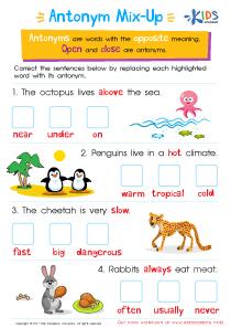 Vocabulary Antonyms Worksheet