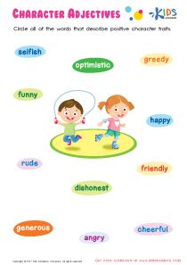 Character Adjectives Worksheet PDF