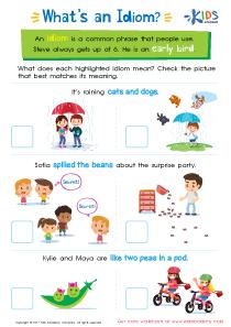Idiom Worksheet for 3rd Grade