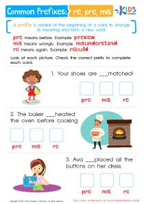 Common Prefixes Worksheet: RE, PRE, MIS