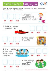 Prefix practice worksheet: DIS, IM, UN