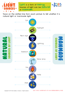 Natural and Manmade Light Sources Worksheet
