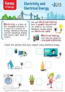 Forms of energy worksheet for 3rd grade
