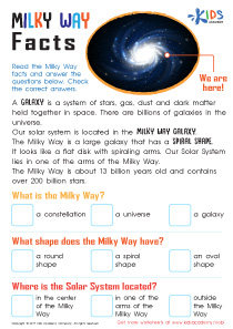 Milky Way Facts Worksheet