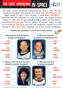 First Americans in Space Worksheet