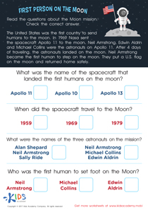 First Person on the Moon Worksheet
