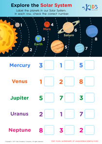 Solar systems worksheet PDF