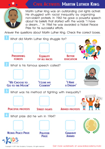 Martin Luther King Worksheet for 3rd Grade