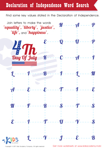 Declaration of Independence Word Search PDF