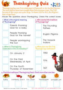 Thanksgiving Quiz Worksheet
