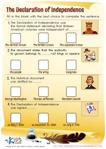Declaration of Independence PDF Worksheet