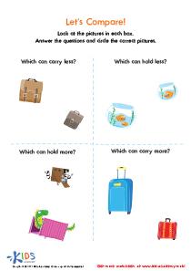 Let's Compare Worksheet for Preschool