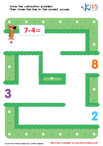 Math: Subtraction PDF Worksheet Seven Minus Four