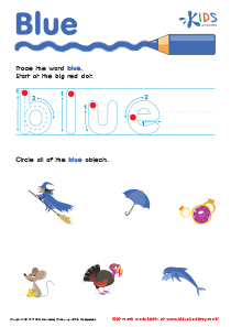 Handwriting PDF Worksheets | Tracing Color Words | Blue