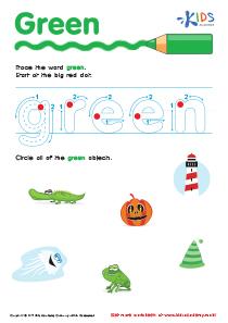 Handwriting PDF Worksheets | Tracing Color Words | Green