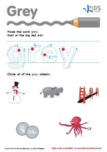 Handwriting PDF Worksheets | Tracing Color Words | Grey