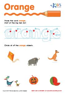 Handwriting PDF Worksheets | Tracing Color Words | Orange
