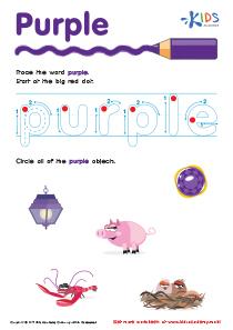 Handwriting PDF Worksheets   Tracing Color Words   Purple