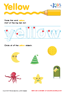 Handwriting PDF Worksheets | Tracing Color Words | Yellow