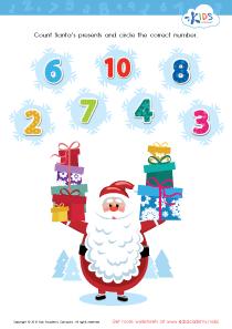 Math PDF Worksheet: Count Santa's Presents