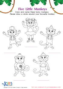 The Five Little Monkeys Coloring PDF Worksheet