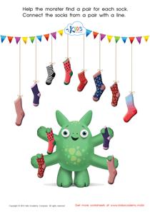 Math Matching Game: Monster's Socks