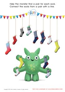 Math Matching Pairs Game: Monster's Socks