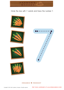 Math Game: Count the Carrots and Trace the Number 7