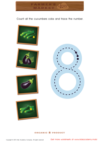 Math Game: Count the Cucumbers and Trace the Number 8