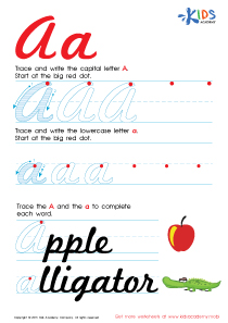 Cursive Letters Worksheets | Letter A Tracing PDF