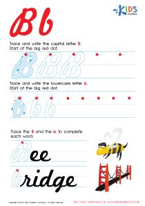 Cursive Letters Worksheets | Letter B Tracing PDF