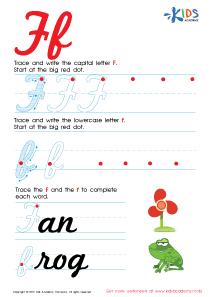 Cursive Letters Worksheets | Letter F Tracing PDF