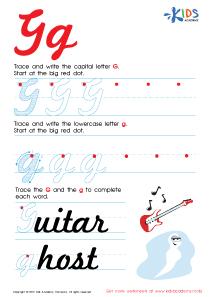 Cursive Letters Worksheets | Letter G Tracing PDF