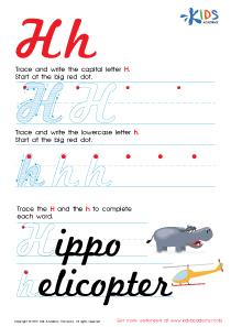 Cursive Letters Worksheets | Letter H Tracing PDF