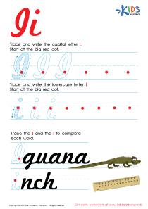 Cursive Letters Worksheets | Letter I Tracing PDF