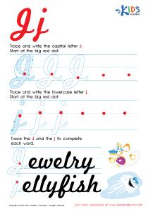 Cursive Letters Worksheets | Letter J Tracing PDF